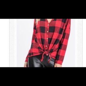 Tops - Plaid Jane Tie Front